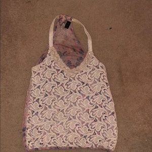 Buckle lace tank top